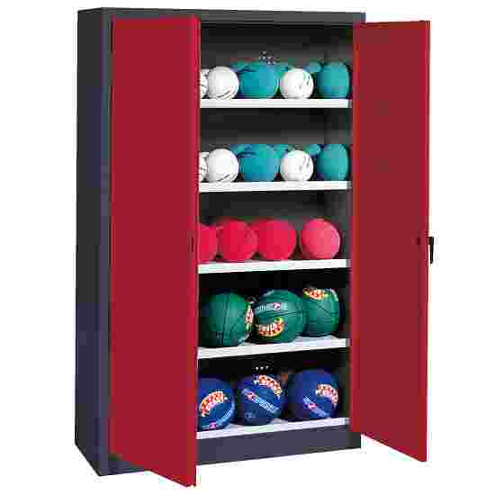 Ball Cabinet, HxWxD 195x150x50 cm, with Sheet Metal Double Doors (type 3) Ruby red (RAL 3003), Anthracite (RAL 7021)