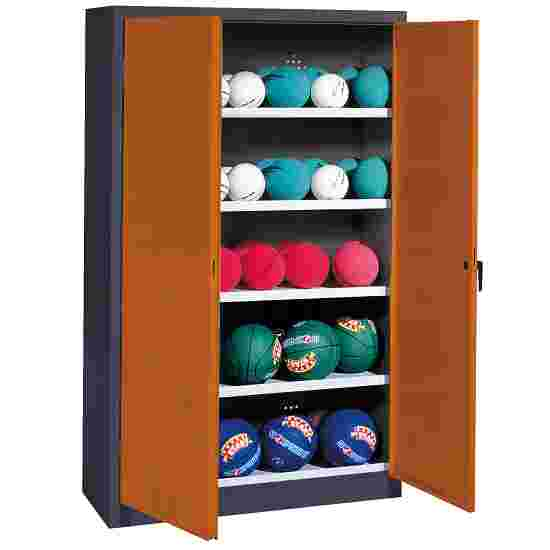 Ball Cabinet, HxWxD 195x150x50 cm, with Sheet Metal Double Doors (type 3) Sienna red (RDS 050 40 50), Anthracite (RAL 7021)