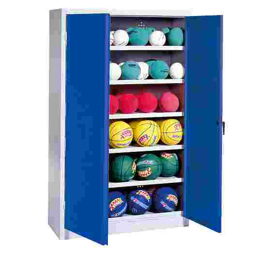 Ball Cabinet, HxWxD 195x93x40 cm, with Sheet Metal Double Doors (type 3) Gentian blue (RAL 5010), Light grey (RAL 7035)