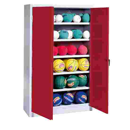 Ball Cabinet, HxWxD 195x93x40 cm, with Sheet Metal Double Doors (type 3) Ruby red (RAL 3003), Light grey (RAL 7035)