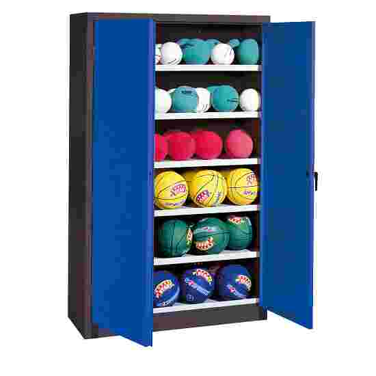 Ball Cabinet, HxWxD 195x93x40 cm, with Sheet Metal Double Doors (type 3) Gentian blue (RAL 5010), Anthracite (RAL 7021)