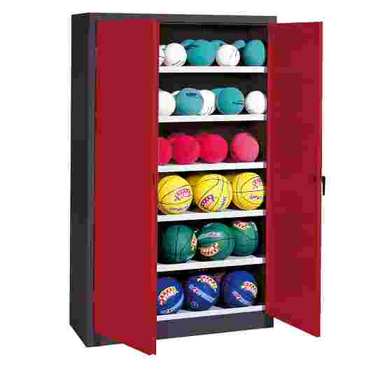 Ball Cabinet, HxWxD 195x93x40 cm, with Sheet Metal Double Doors (type 3) Ruby red (RAL 3003), Anthracite (RAL 7021)