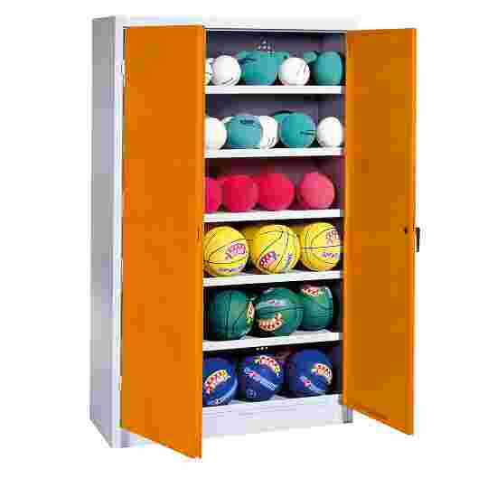 Ball Cabinet, HxWxD 195x93x50 cm, with Sheet Metal Double Doors (type 3) Yellow orange (RAL 2000), Light grey (RAL 7035)