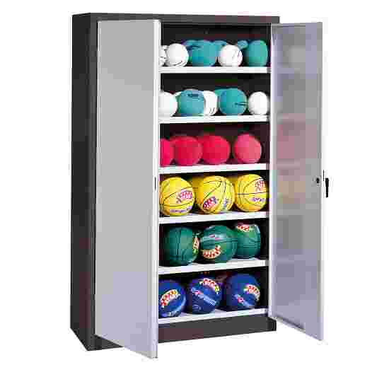 Ball Cabinet, HxWxD 195x93x50 cm, with Sheet Metal Double Doors (type 3) Light grey (RAL 7035), Anthracite (RAL 7021)