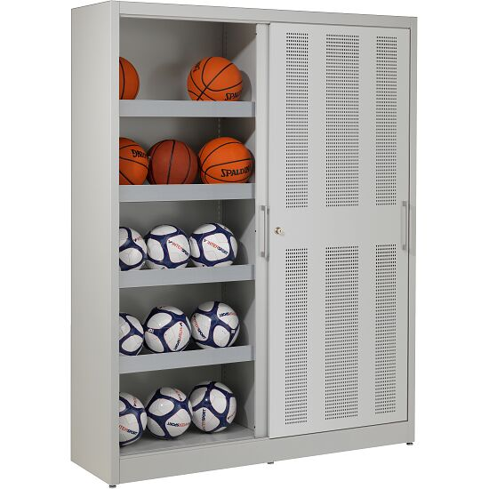 Ball Storage Cabinet, HxWxD: 195x150x50 Cm, With Perforated Sliding Doors  Light Grey (