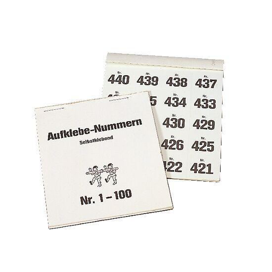Block mit Gewinn-Aufklebenummern 1–100