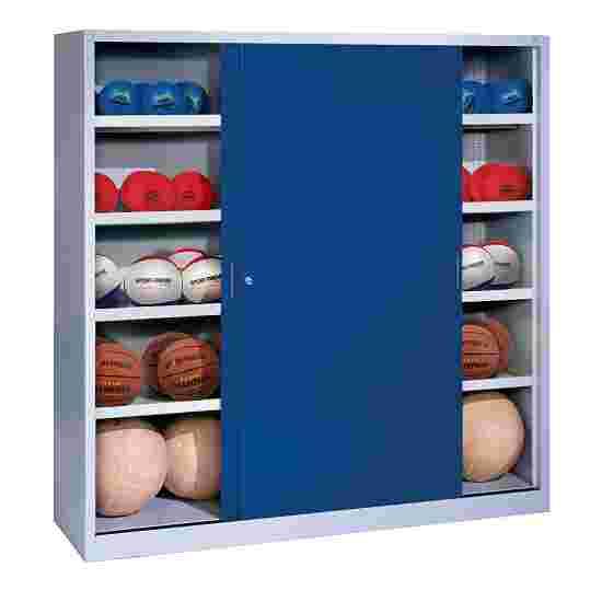 C+P Ballschrank  HxBxT 195x120x50 cm, mit Vollblech-Schiebetüren (Typ 4) Enzianblau (RAL 5010), Lichtgrau (RAL 7035)