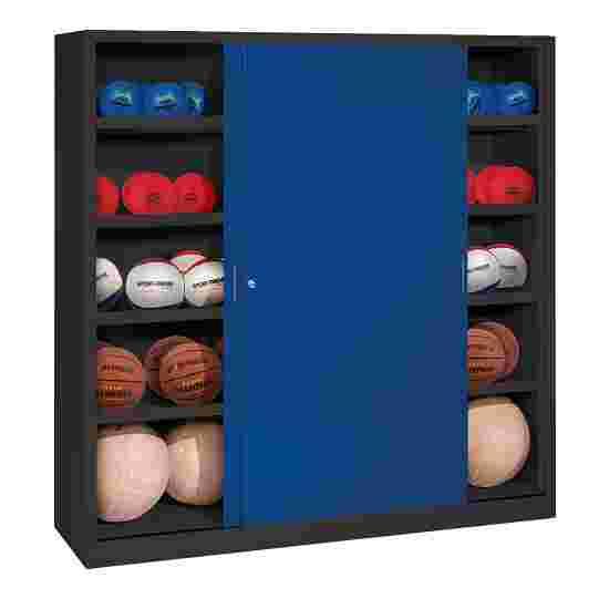 C+P Ballschrank  HxBxT 195x120x50 cm, mit Vollblech-Schiebetüren (Typ 4) Enzianblau (RAL 5010), Anthrazit (RAL 7021)