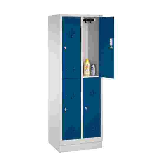 """C+P Doppel-Garderobenschrank """"S 2000 Classic"""", Abteilbreite 30 cm mit 10 cm hohem Sockel 180x61x50 cm/ 4 Fächer, Enzianblau (RAL 5010)"""