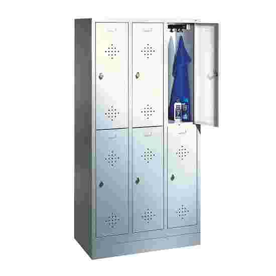 """C+P Doppel-Garderobenschrank """"S 2000 Classic"""", Abteilbreite 30 cm mit 10 cm hohem Sockel 180x90x50 cm/ 6 Fächer, Lichtgrau (RAL 7035)"""