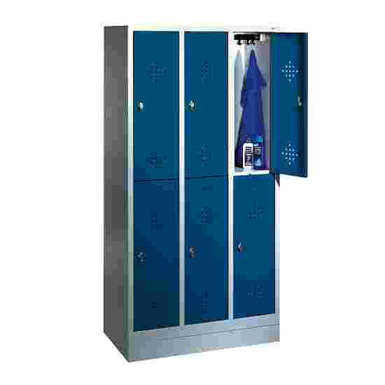 """C+P Doppel-Garderobenschrank """"S 2000 Classic"""", Abteilbreite 30 cm mit 10 cm hohem Sockel 180x90x50 cm/ 6 Fächer, Enzianblau (RAL 5010)"""