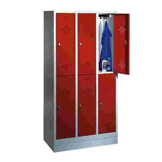 """C+P Doppel-Garderobenschrank """"S 2000 Classic"""", Abteilbreite 30 cm mit 10 cm hohem Sockel 180x90x50 cm/ 6 Fächer, Feuerrot (RAL 3000)"""