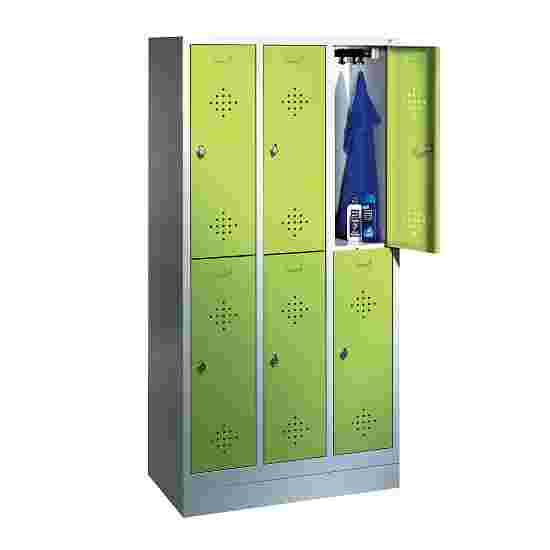 """C+P Doppel-Garderobenschrank """"S 2000 Classic"""", Abteilbreite 30 cm mit 10 cm hohem Sockel 180x90x50 cm/ 6 Fächer, Viridingrün (RDS 110 80 60)"""