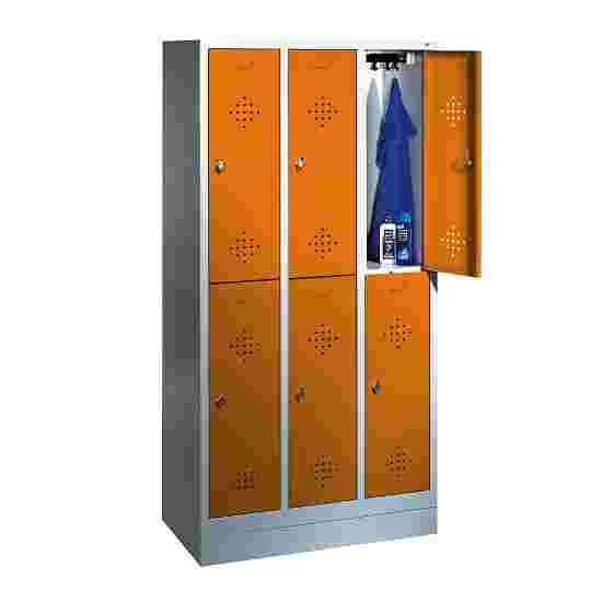"""C+P Doppel-Garderobenschrank """"S 2000 Classic"""", Abteilbreite 30 cm mit 10 cm hohem Sockel 180x90x50 cm/ 6 Fächer, Gelborange (RAL 2000)"""