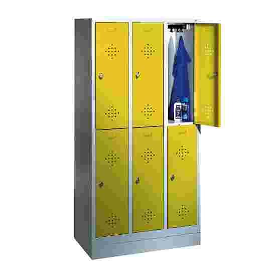 """C+P Doppel-Garderobenschrank """"S 2000 Classic"""", Abteilbreite 30 cm mit 10 cm hohem Sockel 180x90x50 cm/ 6 Fächer, Sonnengelb (RDS 080 80 60)"""