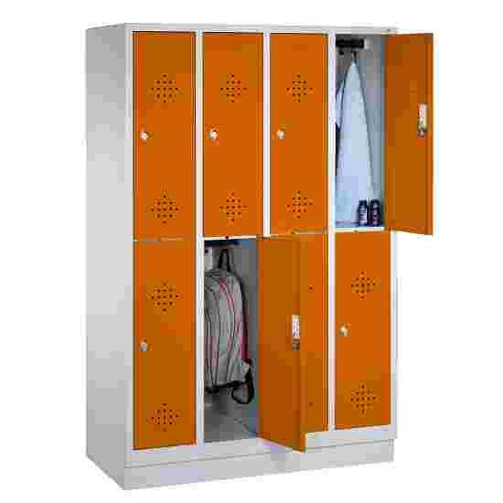 """C+P Doppel-Garderobenschrank """"S 2000 Classic"""", Abteilbreite 30 cm mit 10 cm hohem Sockel 180x119x50 cm/ 8 Fächer, Gelborange (RAL 2000)"""