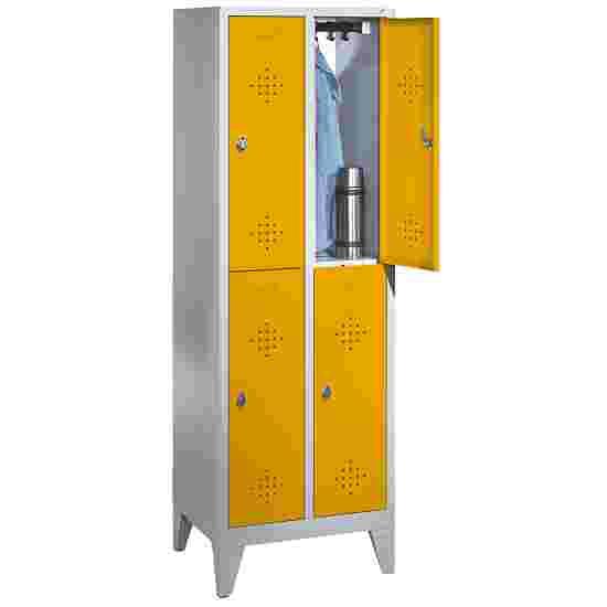 """C+P Doppel-Garderobenschrank """"S 2000 Classic"""" mit 15 cm hohen Füßen 185x61x50 cm / 4 Fächer, 30 cm"""