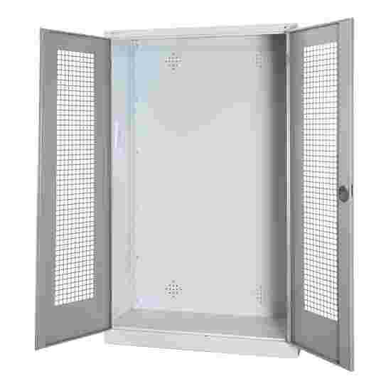 C+P Modul-Sportgeräteschrank (HxBxT 195x120x50 cm, mit Lochblech-Flügeltüren) Lichtgrau (RAL 7035), Lichtgrau (RAL 7035), Einzelschließung, Klinkengriff