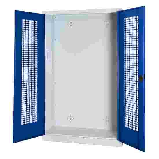 C+P Modul-Sportgeräteschrank (HxBxT 195x120x50 cm, mit Lochblech-Flügeltüren) Enzianblau (RAL 5010), Lichtgrau (RAL 7035), Einzelschließung, Klinkengriff