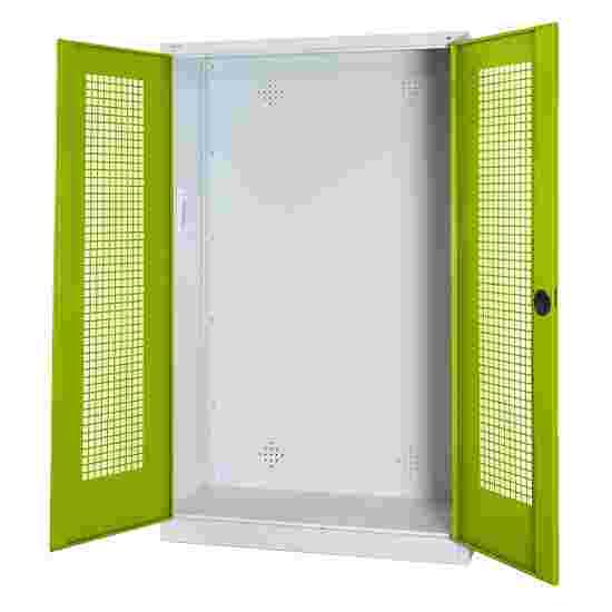 C+P Modul-Sportgeräteschrank (HxBxT 195x120x50 cm, mit Lochblech-Flügeltüren) Viridingrün (RDS 110 80 60), Lichtgrau (RAL 7035), Einzelschließung, Klinkengriff
