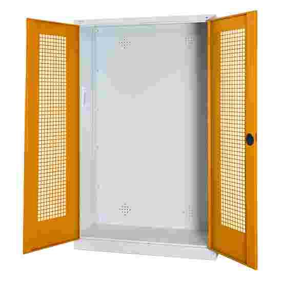 C+P Modul-Sportgeräteschrank (HxBxT 195x120x50 cm, mit Lochblech-Flügeltüren) Gelborange (RAL 2000), Lichtgrau (RAL 7035), Einzelschließung, Klinkengriff