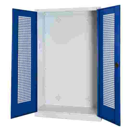 C+P Modul-Sportgeräteschrank (HxBxT 195x120x50 cm, mit Lochblech-Flügeltüren) Enzianblau (RAL 5010), Lichtgrau (RAL 7035), Einzelschließung, Ergo-Lock Muldengriff