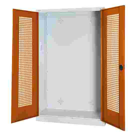 C+P Modul-Sportgeräteschrank (HxBxT 195x120x50 cm, mit Lochblech-Flügeltüren) Sienarot (RDS 050 40 50), Lichtgrau (RAL 7035), Einzelschließung, Ergo-Lock Muldengriff