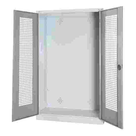 C+P Modul-Sportgeräteschrank (HxBxT 195x120x50 cm, mit Lochblech-Flügeltüren) Lichtgrau (RAL 7035), Lichtgrau (RAL 7035), Gleichschließung, Klinkengriff
