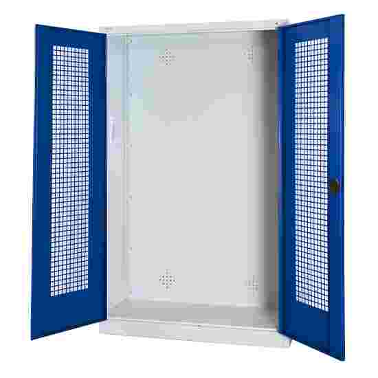 C+P Modul-Sportgeräteschrank (HxBxT 195x120x50 cm, mit Lochblech-Flügeltüren) Enzianblau (RAL 5010), Lichtgrau (RAL 7035), Gleichschließung, Klinkengriff