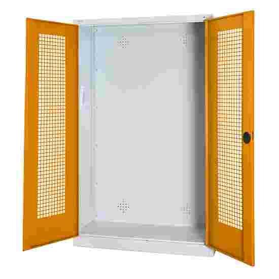 C+P Modul-Sportgeräteschrank (HxBxT 195x120x50 cm, mit Lochblech-Flügeltüren) Gelborange (RAL 2000), Lichtgrau (RAL 7035), Gleichschließung, Klinkengriff