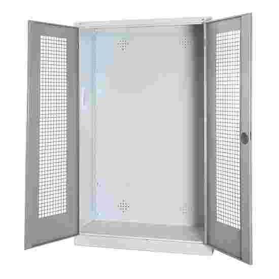 C+P Modul-Sportgeräteschrank (HxBxT 195x120x50 cm, mit Lochblech-Flügeltüren) Lichtgrau (RAL 7035), Lichtgrau (RAL 7035), Gleichschließung, Ergo-Lock Muldengriff