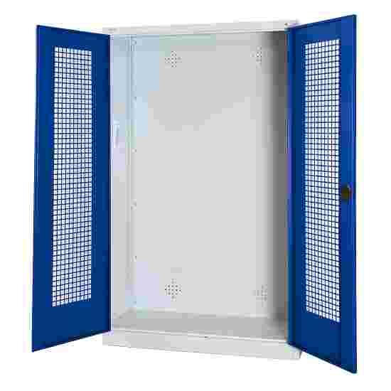 C+P Modul-Sportgeräteschrank (HxBxT 195x120x50 cm, mit Lochblech-Flügeltüren) Enzianblau (RAL 5010), Lichtgrau (RAL 7035), Gleichschließung, Ergo-Lock Muldengriff