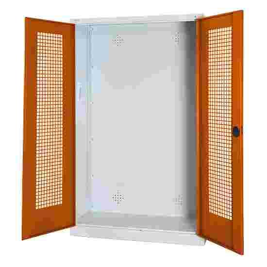 C+P Modul-Sportgeräteschrank (HxBxT 195x120x50 cm, mit Lochblech-Flügeltüren) Sienarot (RDS 050 40 50), Lichtgrau (RAL 7035), Gleichschließung, Ergo-Lock Muldengriff