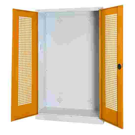 C+P Modul-Sportgeräteschrank (HxBxT 195x120x50 cm, mit Lochblech-Flügeltüren) Gelborange (RAL 2000), Lichtgrau (RAL 7035), Gleichschließung, Ergo-Lock Muldengriff