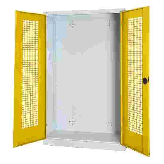 C+P Modul-Sportgeräteschrank (HxBxT 195x120x50 cm, mit Lochblech-Flügeltüren) Sonnengelb (RDS 080 80 60), Lichtgrau (RAL 7035), Gleichschließung, Ergo-Lock Muldengriff