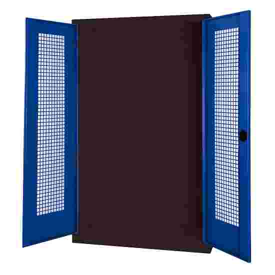 C+P Modul-Sportgeräteschrank (HxBxT 195x120x50 cm, mit Lochblech-Flügeltüren) Enzianblau (RAL 5010), Anthrazit (RAL 7021), Gleichschließung, Ergo-Lock Muldengriff