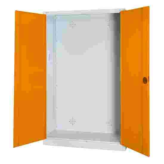 C+P Modul-Sportgeräteschrank (HxBxT 195x120x50 cm, mit Vollblech-Flügeltüren) Gelborange (RAL 2000), Lichtgrau (RAL 7035), Einzelschließung, Ergo-Lock Muldengriff