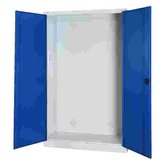 C+P Modul-Sportgeräteschrank (HxBxT 195x120x50 cm, mit Vollblech-Flügeltüren) Enzianblau (RAL 5010), Lichtgrau (RAL 7035), Gleichschließung, Klinkengriff