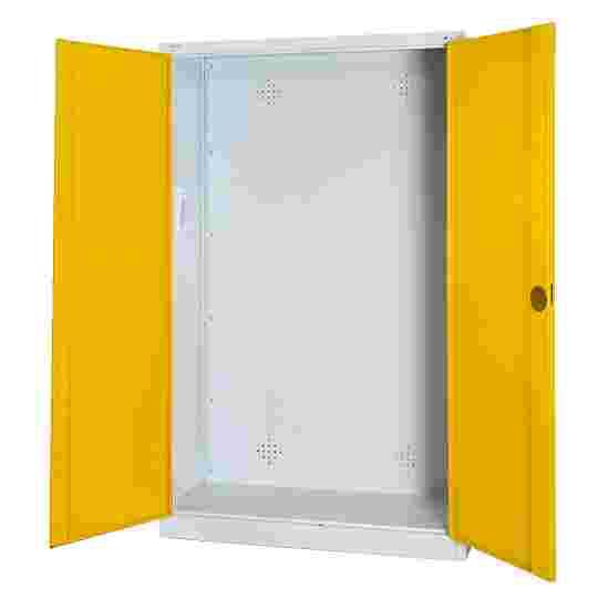 C+P Modul-Sportgeräteschrank (HxBxT 195x120x50 cm, mit Vollblech-Flügeltüren) Sonnengelb (RDS 080 80 60), Lichtgrau (RAL 7035), Gleichschließung, Ergo-Lock Muldengriff