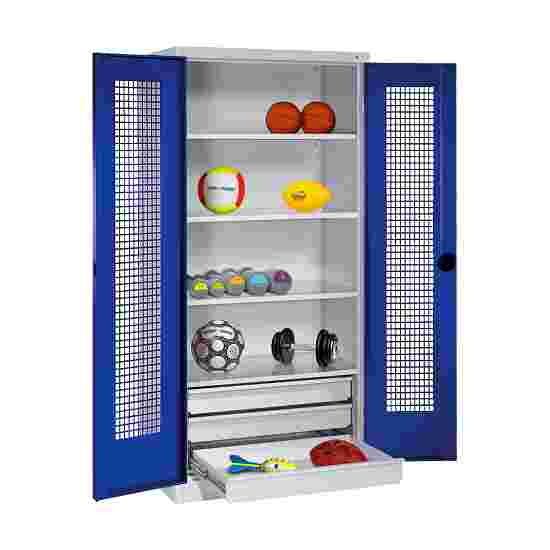 C+P Type 4 Sports Equipment Locker with Drawers and Perforated Double Doors, H×W×D: 195×120×50 cm Gentian blue (RAL 5010), Light grey (RAL 7035)