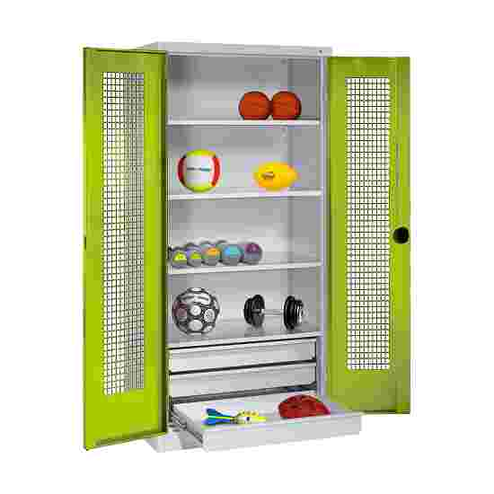 C+P Type 4 Sports Equipment Locker with Drawers and Perforated Double Doors, H×W×D: 195×120×50 cm Viridian green (RDS 110 80 60), Light grey (RAL 7035)