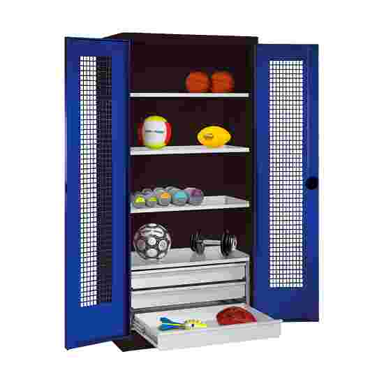C+P Type 4 Sports Equipment Locker with Drawers and Perforated Double Doors, H×W×D: 195×120×50 cm Gentian blue (RAL 5010), Anthracite (RAL 7021)
