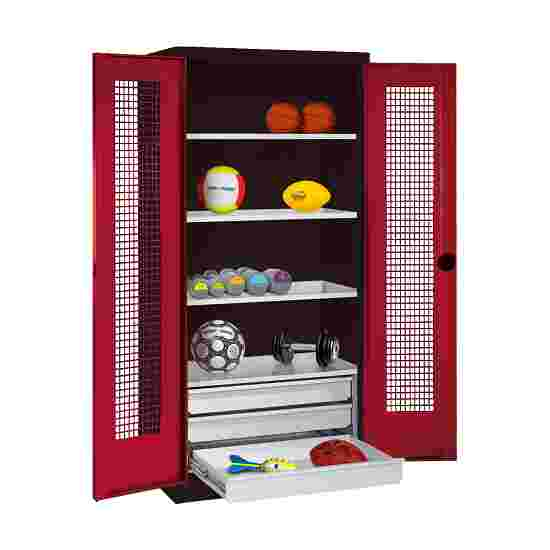 C+P Type 4 Sports Equipment Locker with Drawers and Perforated Double Doors, H×W×D: 195×120×50 cm Ruby red (RAL 3003), Anthracite (RAL 7021)