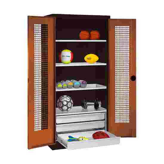 C+P Type 4 Sports Equipment Locker with Drawers and Perforated Double Doors, H×W×D: 195×120×50 cm Sienna red (RDS 050 40 50), Anthracite (RAL 7021)