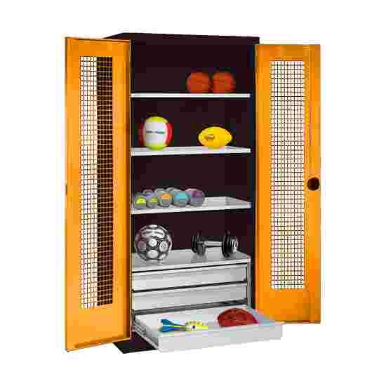 C+P Type 4 Sports Equipment Locker with Drawers and Perforated Double Doors, H×W×D: 195×120×50 cm Yellow orange (RAL 2000), Anthracite (RAL 7021)