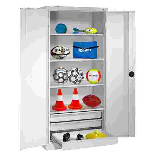 C+P Type 4 Sports Equipment Locker with Drawers and Sheet Metal Double Doors, H×W×D: 195×120×50 cm Light grey (RAL 7035), Light grey (RAL 7035)