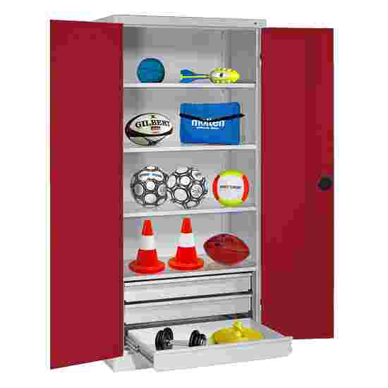 C+P Type 4 Sports Equipment Locker with Drawers and Sheet Metal Double Doors, H×W×D: 195×120×50 cm Ruby red (RAL 3003), Light grey (RAL 7035)