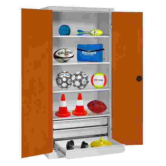 C+P Type 4 Sports Equipment Locker with Drawers and Sheet Metal Double Doors, H×W×D: 195×120×50 cm Sienna red (RDS 050 40 50), Light grey (RAL 7035)