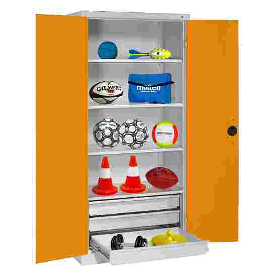 C+P Type 4 Sports Equipment Locker with Drawers and Sheet Metal Double Doors, H×W×D: 195×120×50 cm Yellow orange (RAL 2000), Light grey (RAL 7035)