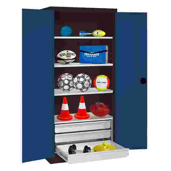 C+P Type 4 Sports Equipment Locker with Drawers and Sheet Metal Double Doors, H×W×D: 195×120×50 cm Gentian blue (RAL 5010), Anthracite (RAL 7021)